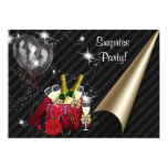 Champagne Balloons Black Surprise Birthday Party Personalized Invites