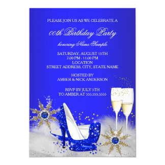 Champagne Birthday Party Royal Blue High Heels 13 Cm X 18 Cm Invitation Card