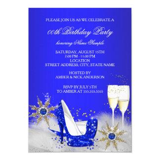 Champagne Birthday Party Royal Blue High Heels 13 Cm X 18 Cm Invitation Card