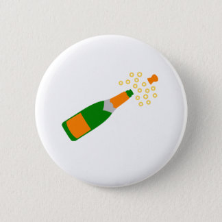 Champagne Bottle and Popping Cork 6 Cm Round Badge