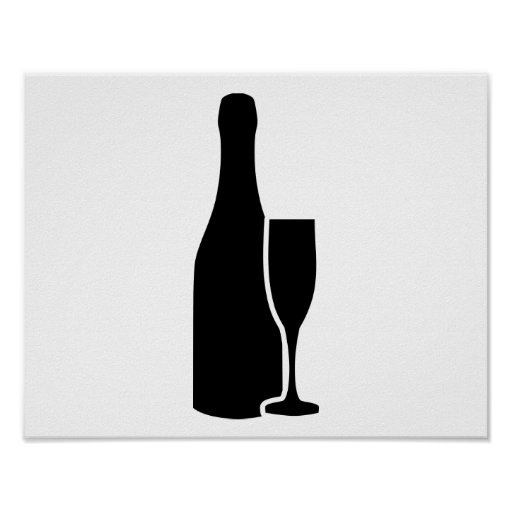 Champagne bottle glass print
