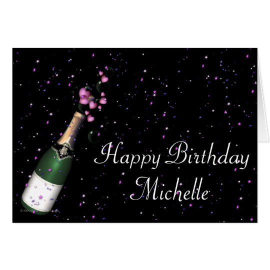 Champagne Bottle w Confetti Happy Birthday Card