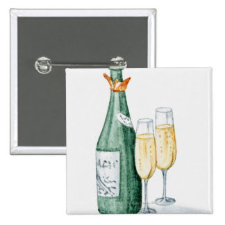 Champagne Bottles and Two Glasses 15 Cm Square Badge