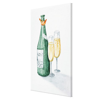 Champagne Bottles and Two Glasses Canvas Print