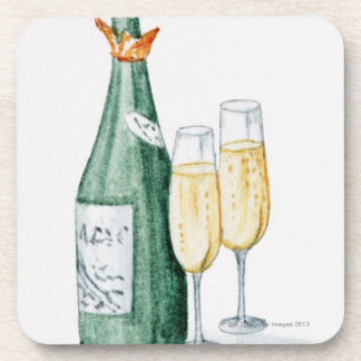 Champagne Bottles and Two Glasses Coasters