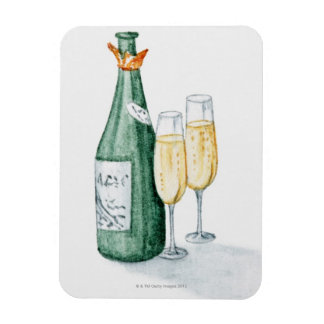 Champagne Bottles and Two Glasses Magnet