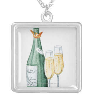 Champagne Bottles and Two Glasses Silver Plated Necklace