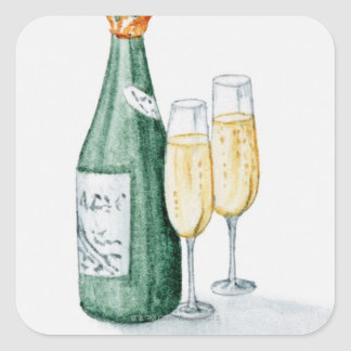 Champagne Bottles and Two Glasses Square Sticker