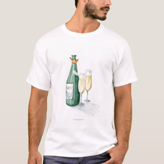 Champagne Bottles and Two Glasses T-Shirt