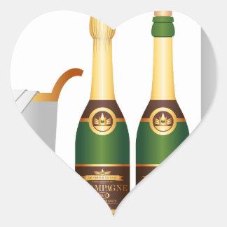 champagne bottles heart sticker