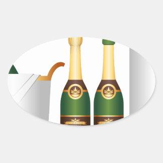 champagne bottles oval sticker