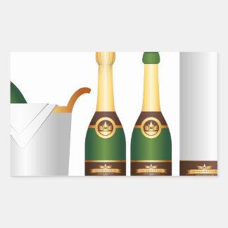 champagne bottles rectangular sticker