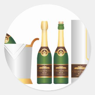 champagne bottles round sticker
