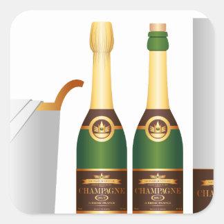 champagne bottles square sticker