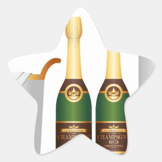 champagne bottles star sticker
