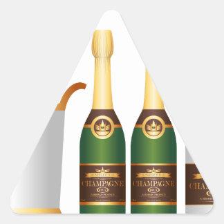 champagne bottles triangle sticker