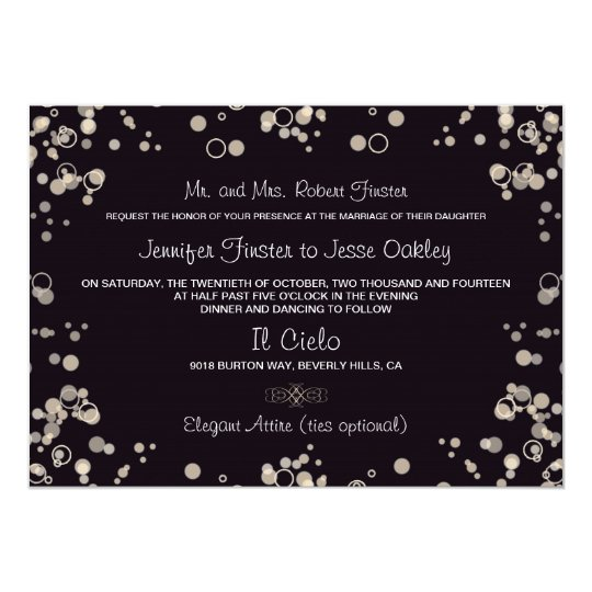 Champagne Bubbles - Black and Ivory Invitation