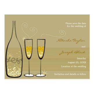 Champagne Bubbles Celebration Save The Date Postcard