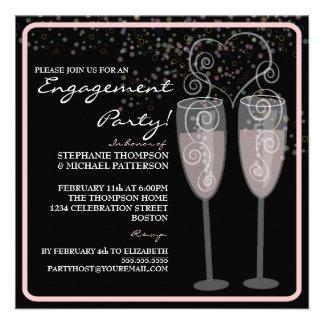 Champagne Bubbles Engagement Party Invitation