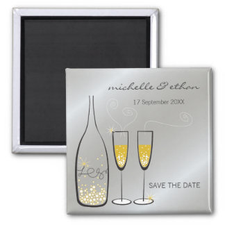 Champagne Bubbles Silver Save The Date Magnet