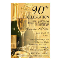 Champagne Celebration 90th Birthday Invitations