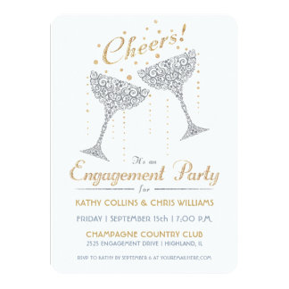 Champagne Cheer Engagement Invitation Silver Gold