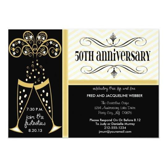 Champagne & Chevron 50th Anniversary Invitations