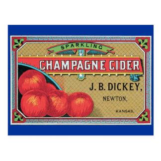 Champagne Cider Vintage Apple Crate Postcard