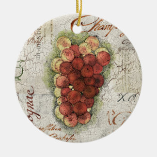 Champagne & Cognac Grapes Round Ceramic Decoration