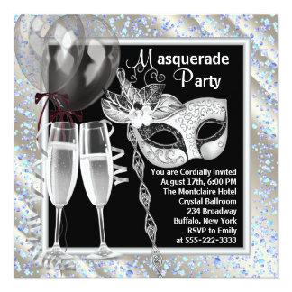 Champagne Confetti Black and Blue Masquerade Party Card