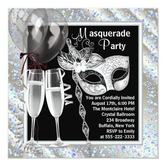 Champagne Confetti Black and Blue Masquerade Party Card