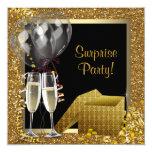 Champagne Confetti Black Gold Surprise Party Personalised Invites