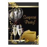 Champagne Confetti Black Gold Surprise Party Custom Announcement