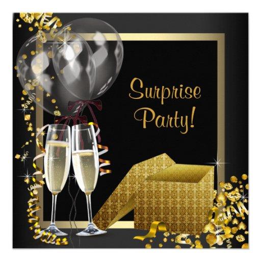 Champagne Confetti Black Gold Surprise Party Personalized Invites