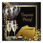 Champagne Confetti Black Gold Surprise Party 13 Cm X 13 Cm Square Invitation Card