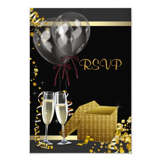 Champagne Confetti Black Gold Surprise Party RSVP Card