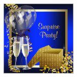 Champagne Confetti Blue and Gold Surprise Party Custom Invites