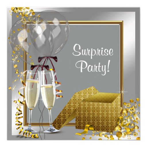 Champagne Confetti Silver and Gold Surprise Party Announcement