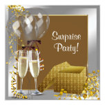 Champagne Confetti Silver Gold Surprise Party Personalised Announcement