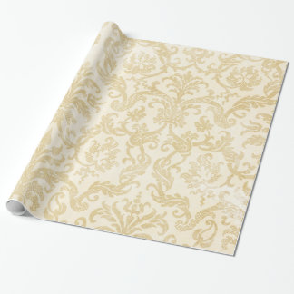 Champagne Damask Lace Gold Ivory Wrapping Paper