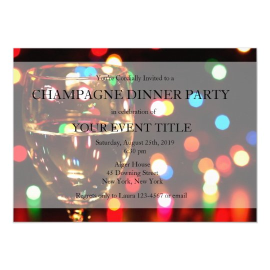 Champagne Dinner Party Bokeh Lights Custom Invites