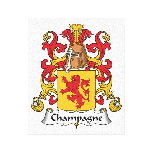 Champagne Family Crest Stretched Canvas Print