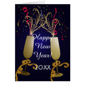 Champagne Festive New Year Greeting Card