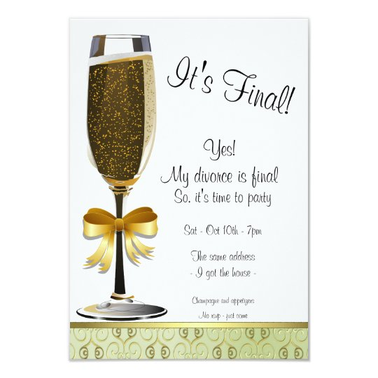 Champagne Flute Divorce Party Invitation
