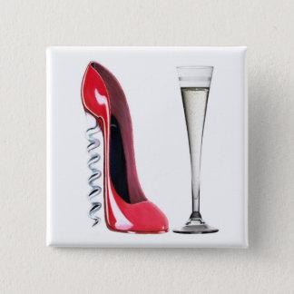 Champagne Flute Glass and Corkscrew Stiletto Shoe 15 Cm Square Badge