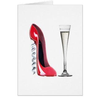 Champagne Flute Glass and Corkscrew Stiletto Shoe Card