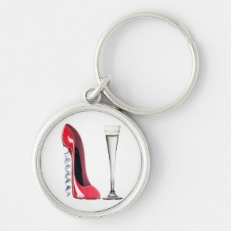 Champagne Flute Glass and Corkscrew Stiletto Shoe Key Ring
