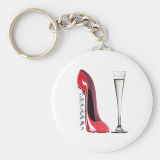 Champagne Flute Glass and Corkscrew Stiletto Shoe Key Chain