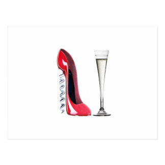 Champagne Flute Glass and Corkscrew Stiletto Shoe Postcard