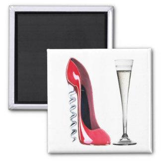 Champagne Flute Glass and Corkscrew Stiletto Shoe Square Magnet